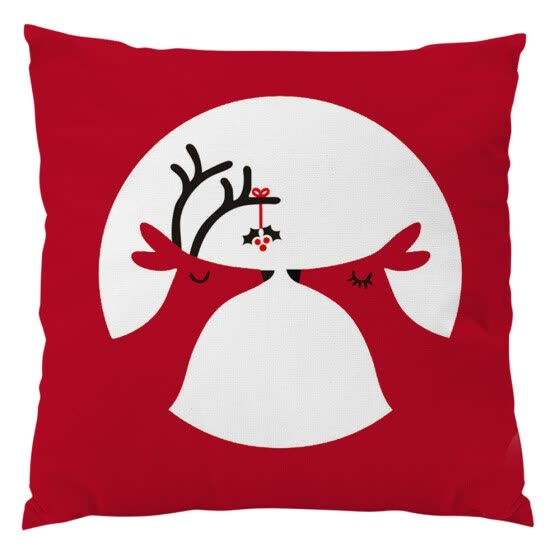Red Vintage Christmas Linen Pillow Case Xmas Deer Cushion Cover Home Decor
