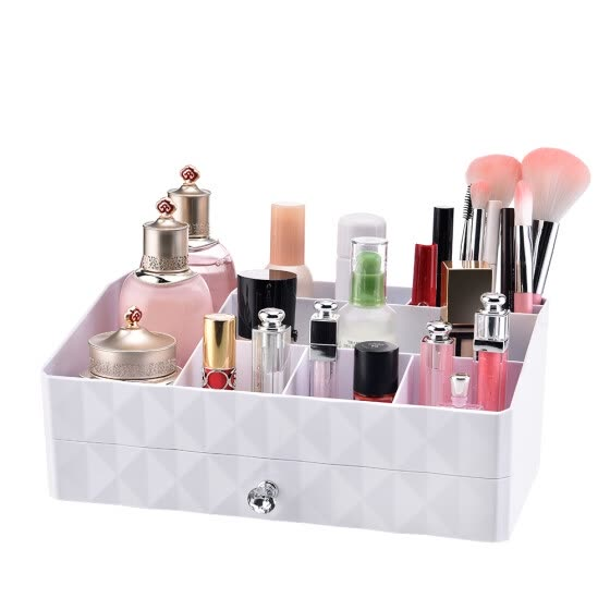Plastic Makeup Organizer Jewelry and Cosmetic Storage Box Brushes Lipsticks Holder with 1 Drawer & 10 Compartments