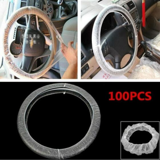 100/500Pcs Clear White Plastic Disposable Truck Car Steering Wheel Covers Films