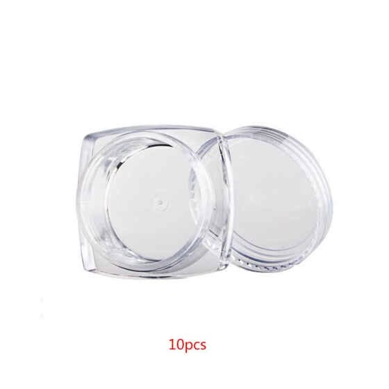 1111Fourone 10PCS Square Clear Mixed Colors Cosmetic Empty Jar Makeup Pot Face Cream Eye Shadow Container Case Box 3g/5g