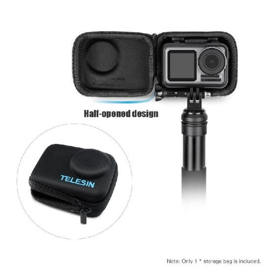 TELESIN Portable Travel Mini Carry Case Shell Cover EVA Protective Storage Bag Pouch with Zipper for DJI OSMO Action Camera