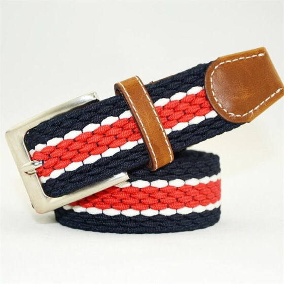 Mens Casual Waistband Belts Woven Stretch Braided Elastic Leather Buckle Belt