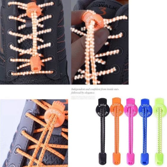 Elastic Laces Lock Shoelaces Running Sports Shoe No Need Lace Up
