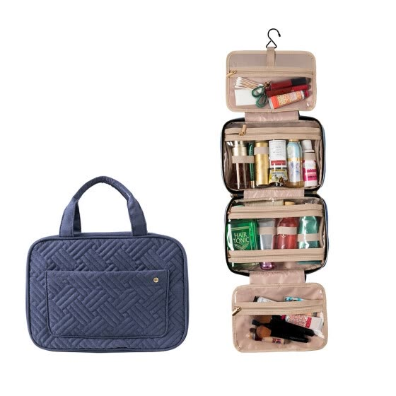 Water-resistant Travel Cosmetic Makeup Bag Toiletry Case With Hook Hanging Pouch