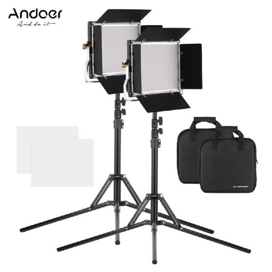 Andoer 2pcs Portable Video Light Panel Fill-in Lamp Adjustable Brightness 3200-5600K Color Temperature CRI95+ with Light Stand Hol