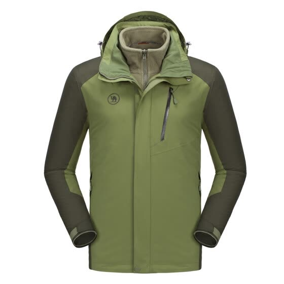 Camel brand fashion outdoor windproof waterproof warm jacket men's three-in-one jacket P8W270709 army green / dark moss green M