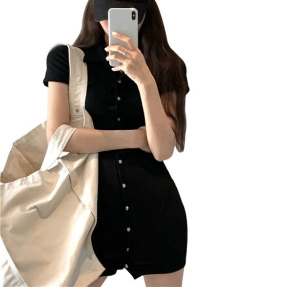 Summer Women's Vintage Solid Color Turn-down Collar Casual Bodycon Above Knee Dresses Clothing