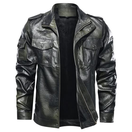 Men's Fashion Jacket Pure Color Zipper Stand Collar Imitation Leather Coat Tops