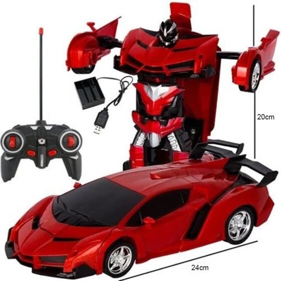Remote Control Robot One Button Transformation Car Kids Toy Gift