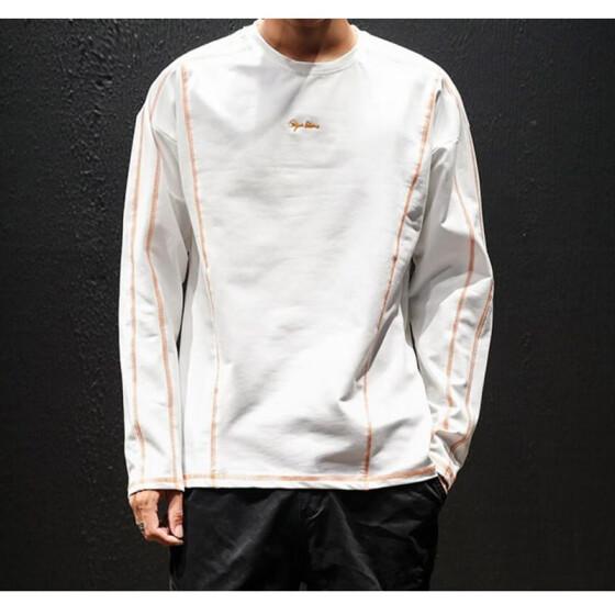 9eb5e15bfecce Осенний свитер мужской японский тренд вокруг шеи студенты базы с длинными  рукавами футболки большой размер рубашки