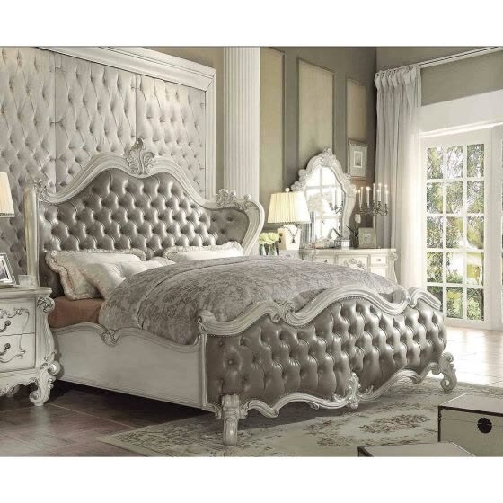 ACME Versailles Queen Bed in Vintage Gray PU & Bone White 21150Q