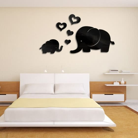 Elephant Wall Decor Mirror Sticker DIY Decal Removable Art Baby Kids Room Mural