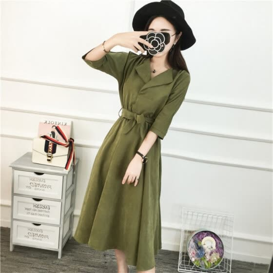 Summer Dresses High Waist Solid Color Half Sleeve Dresses Korean Fashion Dress For Women