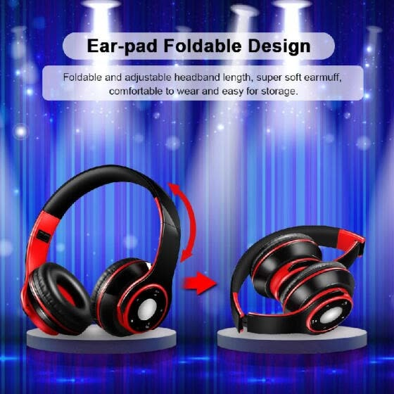 SG-8  4.0 + EDR Headphones Wireless Stereo Music Headset Over-ear TF Card FM Radio Foldable Wired Earphone Hands-free w/ Mic Green