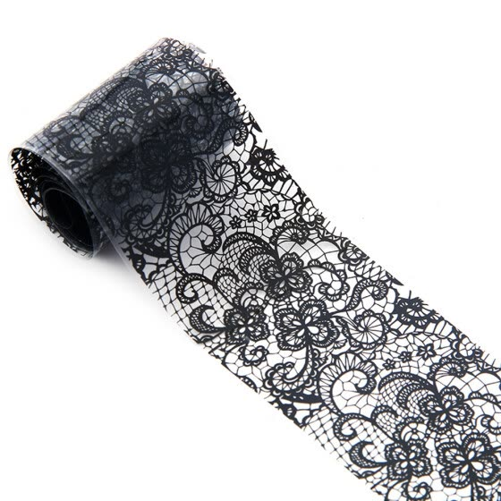 Mnycxen 4*100 Cm Black Lace Starry Sky Design Nail Art Foil Stickers Transfer Decal Tips