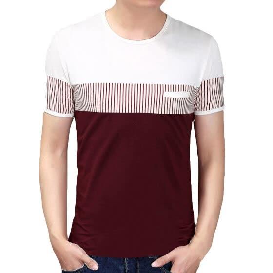 Personality Fashion Mens Stripes Casual Wear Short Sleeves T shirts