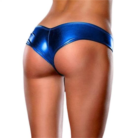 One Size Women Sexy Lingerie Wet Look Leather Panties Underwear (Blue)