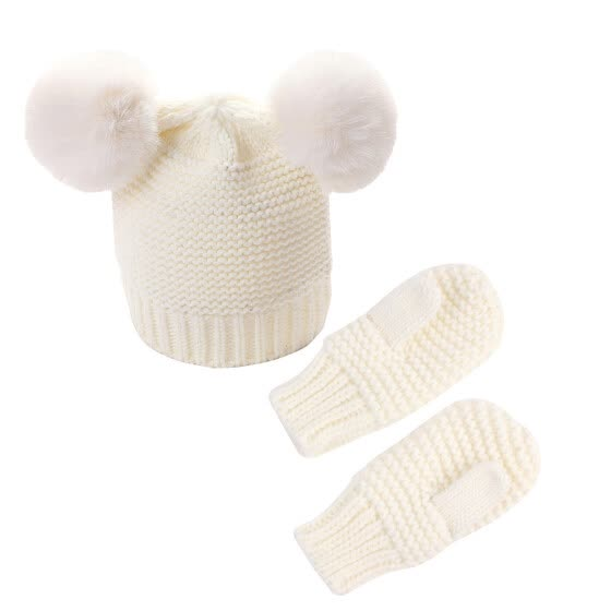 Winter Kids Baby Beanie With Mittens Set Boys Girls Warm Hat And Glove Two-piece