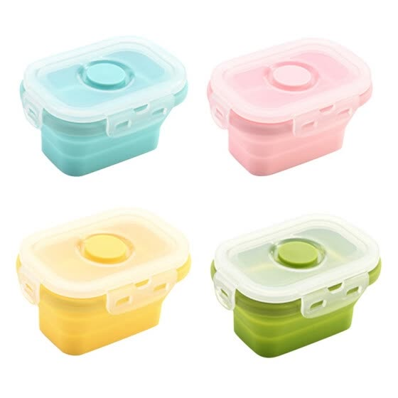 Kitchen Silicone Collapsible Lunch Box Food Storage Container Bento Microwavable Portable Picnic Camping Rectangle Outdoor Box