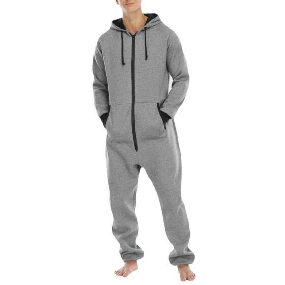 Men's One Piece Suit Thickened Sweater Fleece Pajamas Home Wear Sportswear Jumpsuit for Male