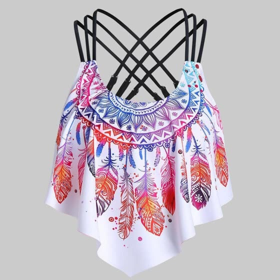 Women Overlay Flounce Crisscross Tankini Feather Print Strappy Padded Swim Top