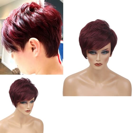 Fashion Lady Women Natural Short Red Wavy Wig Humen Hair Curly Synthetic Wigs
