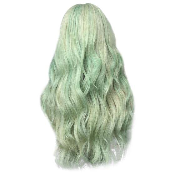 Mnycxen Fashion Synthetic Long Wave Green Color Curly Hair Wig Natural Hair Wigs