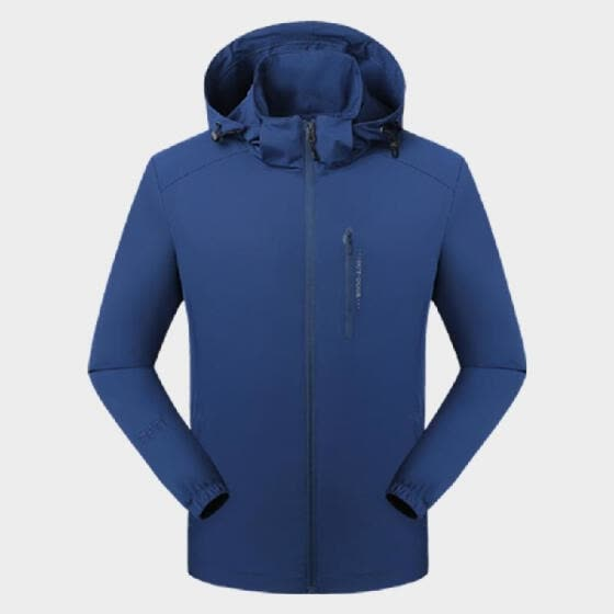 Men Waterproof Shell Jacket Detachable Hood Zipper Pocket Breathable Windproof Stretchable Wearproof Hiking Travel Outdoor Windbre