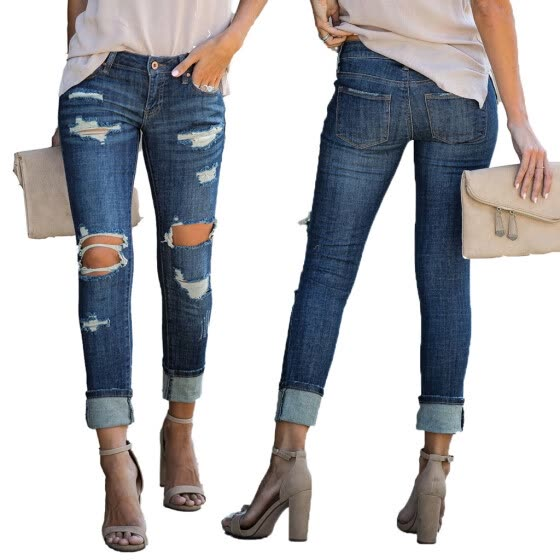 Women Mid Waisted Skinny Hole Denim Button Stretch Slim Pants Calf Length Jeans