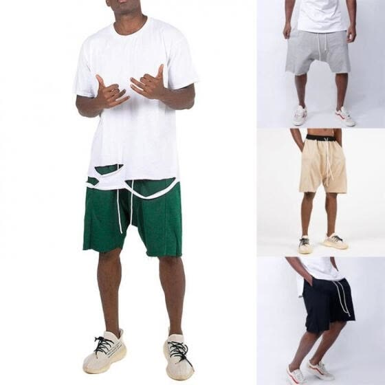 Men Hip Hop Style Solid Color Shorts Loose Lounge Bottoms Drawstring Elastic Shorts