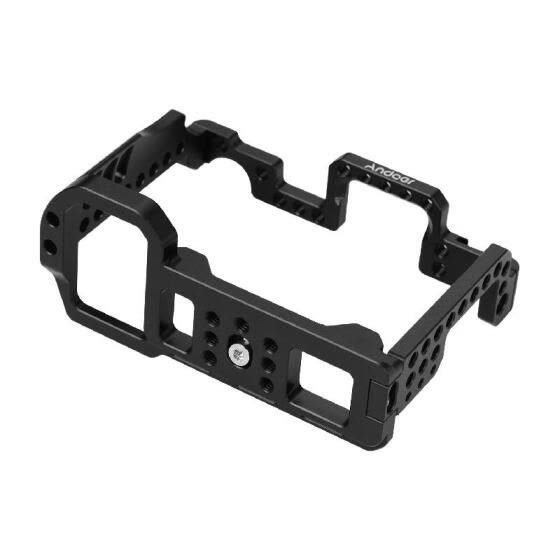 Andoer Aluminum Alloy Video Camera Cage with Cold Shoe Mount 1/4 Inch & 3/8 Inch Screw Holes Compatible with  A7R4 A7R IV