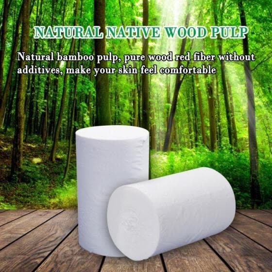Four Ply Roll Paper Solid Color Household Wood Pulp Toilet Paper for Bathroom Kitchen Workshop( White)