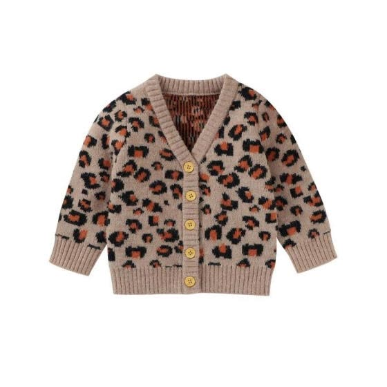 Baby Boy Girl Leopard Print V-Neck Sweater Coat