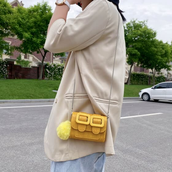 Women Mini Messenger Bags Alligator PU Retro Chain Shoulder Purse (Yellow)