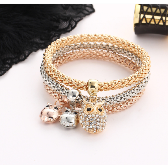 Follure Charm Women Bracelet Gold Silver Rose Gold Rhinestone Bangle Jewelry Set