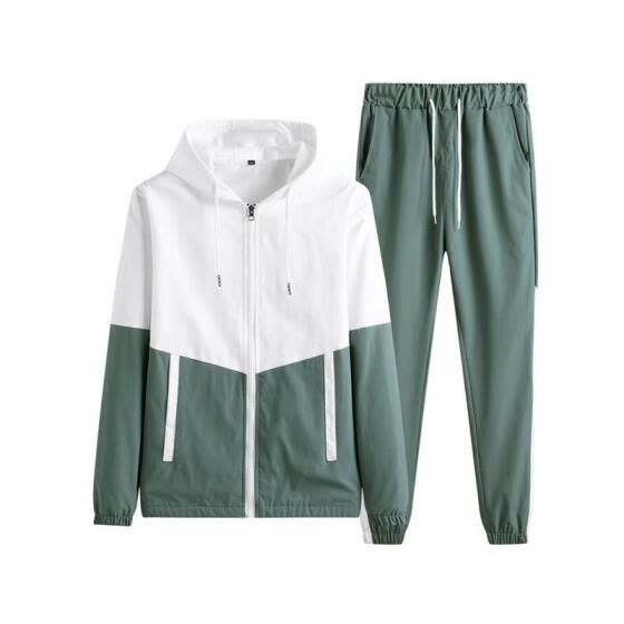 2 Pieces Sports Suit Set, Men' s Long Sleeve Hooded Jacket+ Long Pants for Spring Fall, Green/Black/Blue