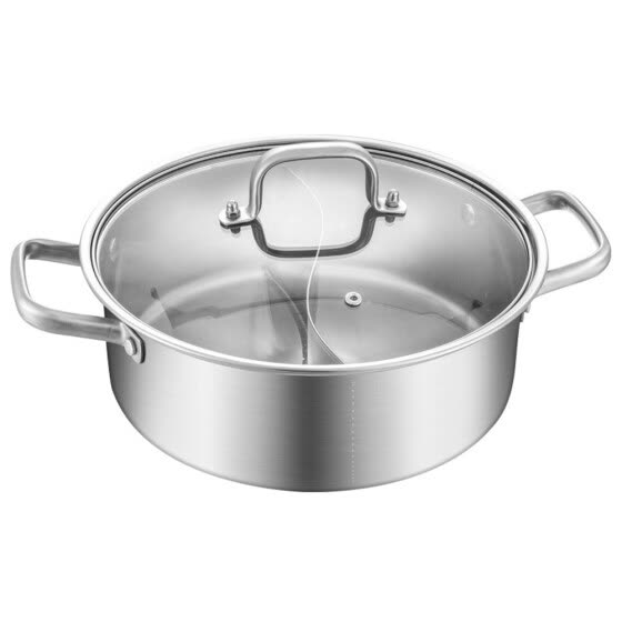 Stainless Steel Hot Pot Shabu Hot Pot With Divider Mandarin Duck Pot Wit Glass Lid Kitchen Casserole Soup Cooking Tool Dual Sided