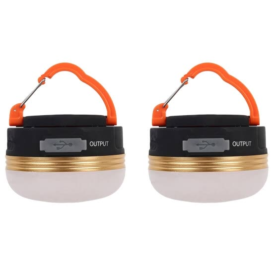 USB Rechargeable Portable LED Camping Lantern Tent Light Charger 2PCS