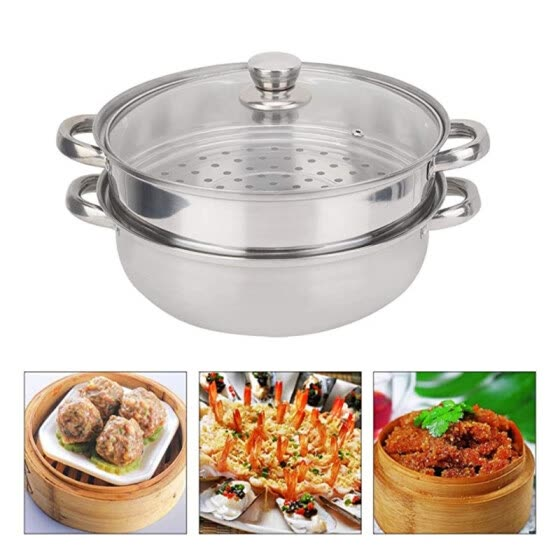 28cm 2-Layer Steamer Stainless Steel Kitchen Boiling Soup Steaming Pot with Lid
