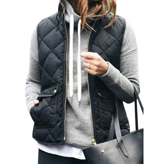 Winter Slim Fleece Warm Parka Trench Coat Sleeveless Jacket Vest