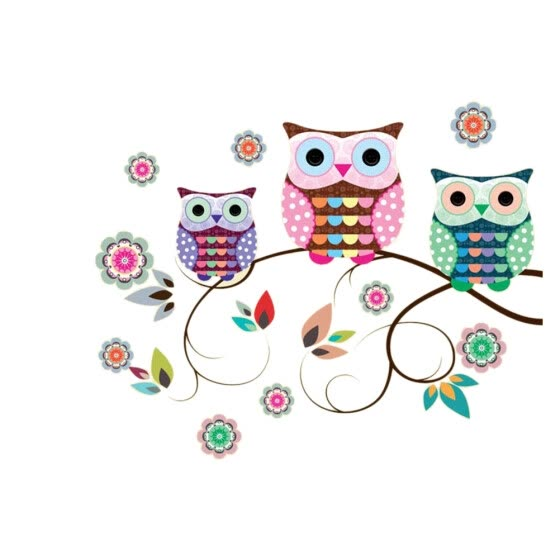 1PC Creative Wall Stickers Removable Peel and Stick Tree Owls Mural Art Wall Decals for Kids Rooms Livingroom Baby Bedroom