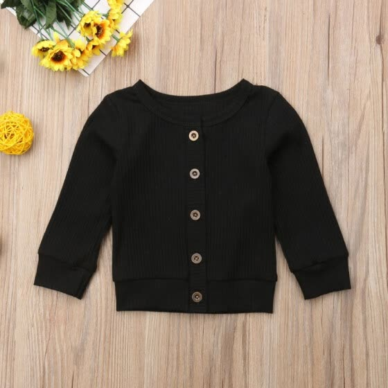 New Autumn Girl\'s T-Shirt Solid Color All-match Concise Casual Round Collar Long Sleeve Button Decor T-shirts