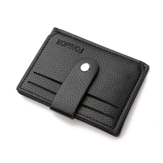 Mini Wallet Solid Color Card Holder Clutch Men Leather Coin Purse (Black)