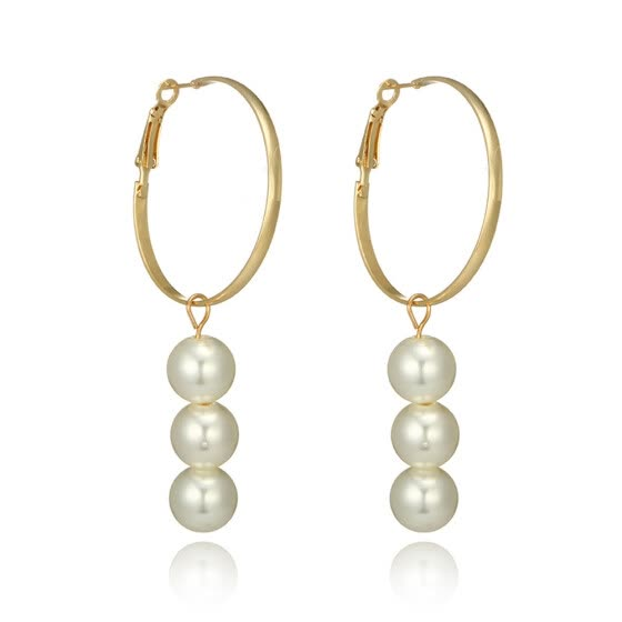1Pair Women Pearl Long Charm Dangle Drop Earrings Gold Chain Jewelry Gift