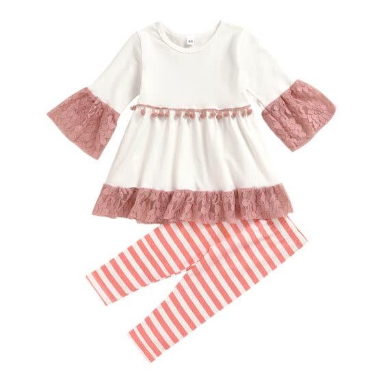 2pcs Kids Autumn Clothes Set Girls Lace Dress Striped Pants (Pink 1-2T)