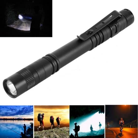 Mini 350 Lumens CREE XPE-R3 LED Flashlight Lamp Light Clip Torch Penlight AAA Battery, 1 Pcs
