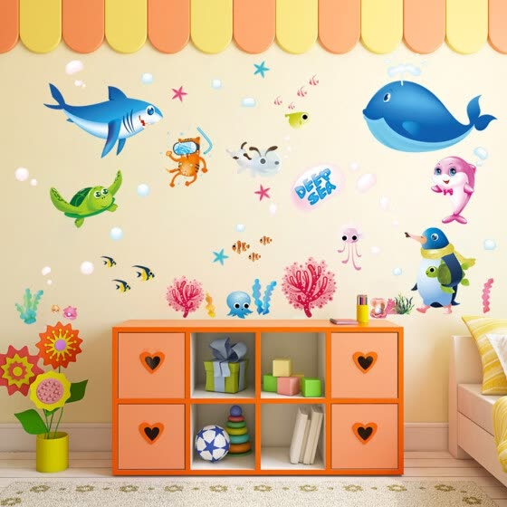 Wall Sticker Colorful Fish Shark Ocean  Vinyl Decal Mural Kid's Room Decor