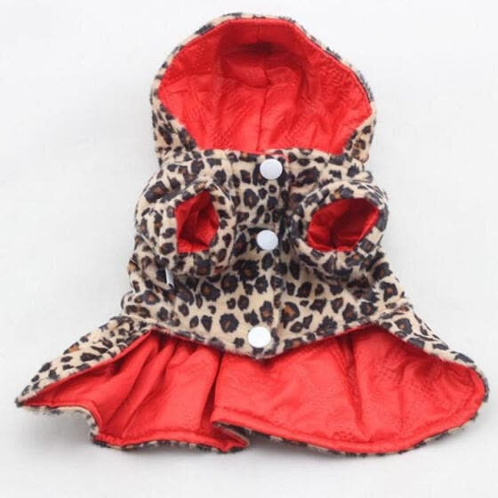 Cute Pet Dogs Leopard Dress Tops Puppy Cotton Hoodie Clothes XS-XL Costumes M13