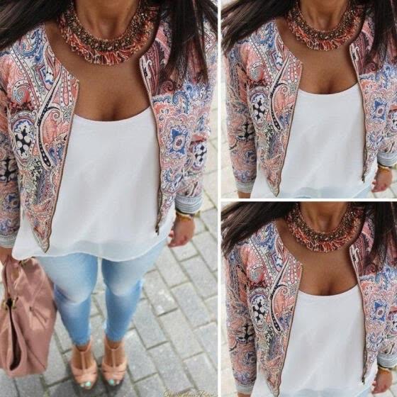 Retro VINTAGE Womens Ladies Floral Slim Casual Summer Blazer Suit Jacket Coat Outerwear Fashion
