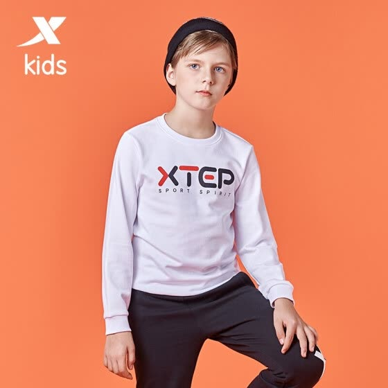 Xtep Kids Boys Sweater Fall 2020 Children's Sweatshirt Casual Top Big Kids Long Sleeve Sweater Male 680325204964 White 120